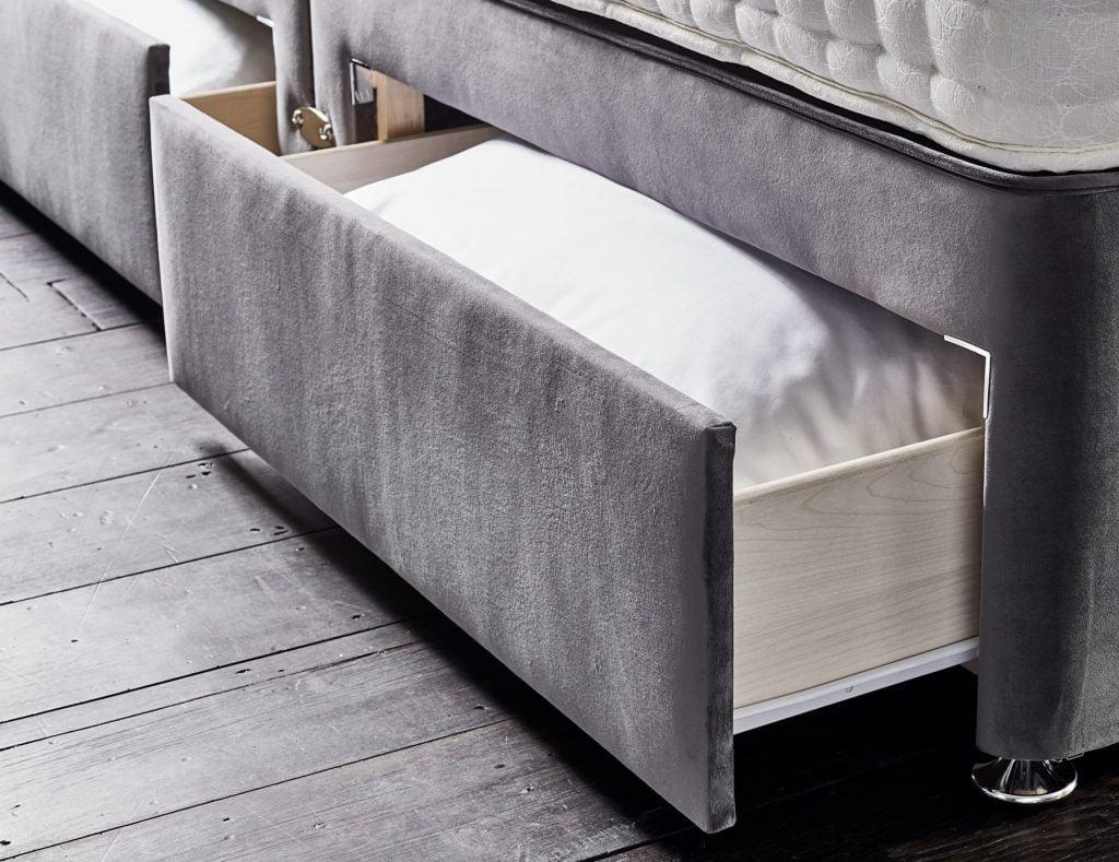 Sleepeezee grey divan bed with two drawers